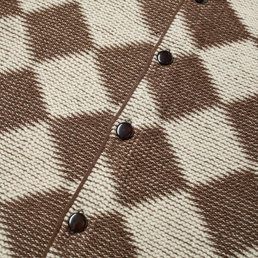 Needles Checked Cardigan - Dark Brown