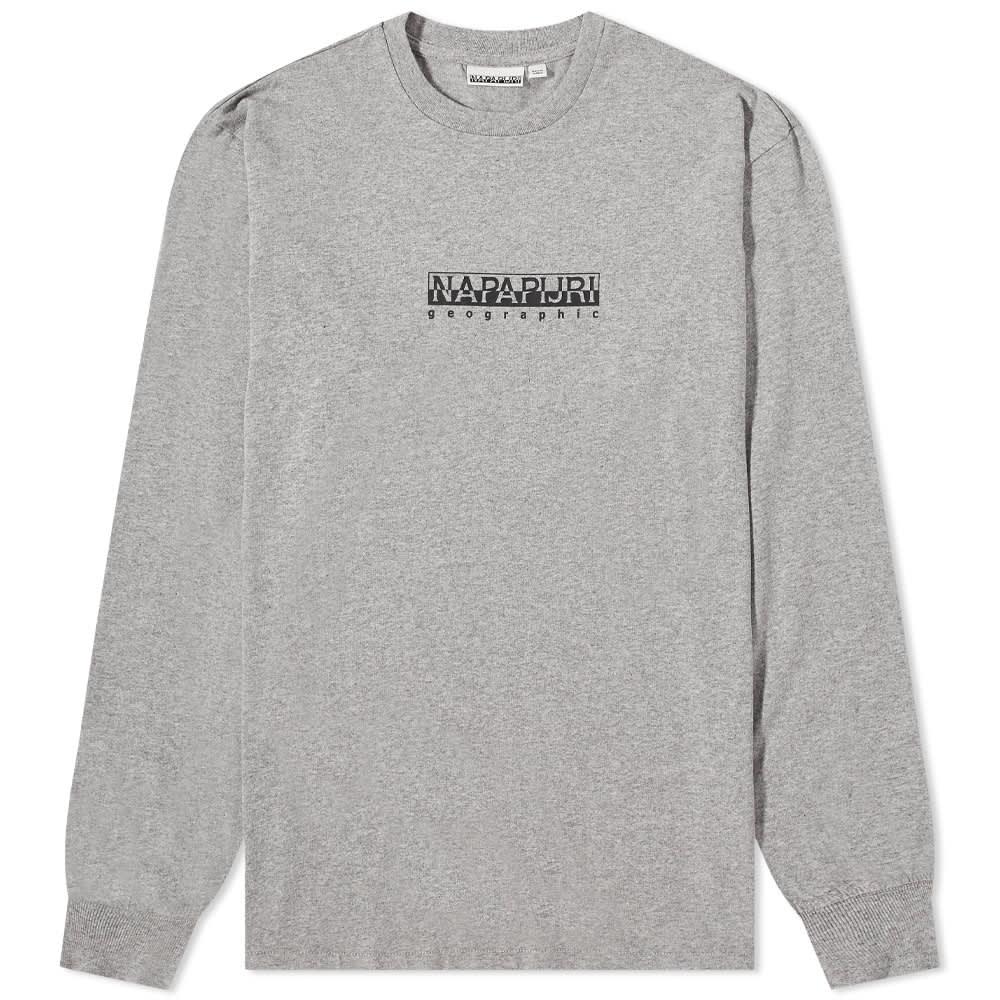 Napapijri Long Sleeve Sox Box Logo Tee - Grey Melange