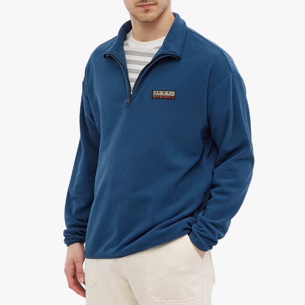 Napapijri Patch Quarter Zip Fleece - Blue French
