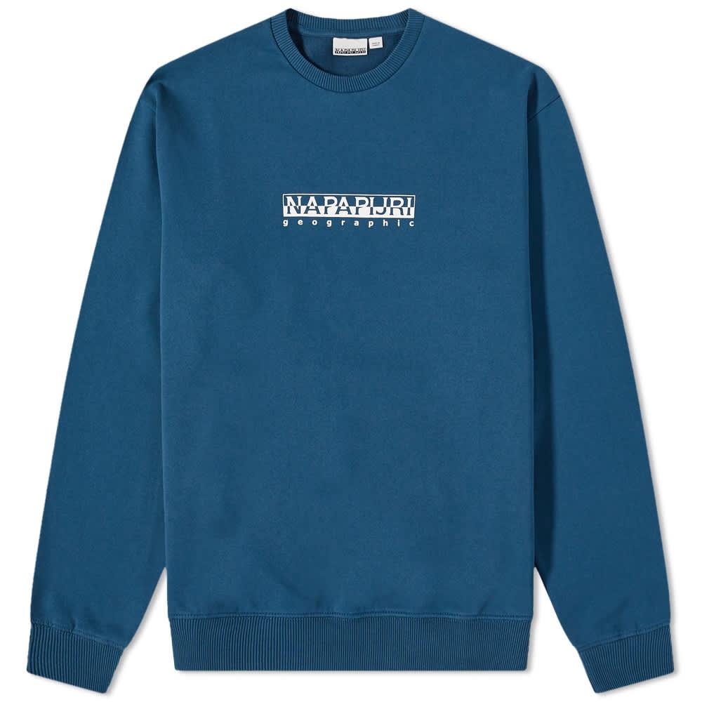 Napapijri Box Logo Crew Sweat - Blue French