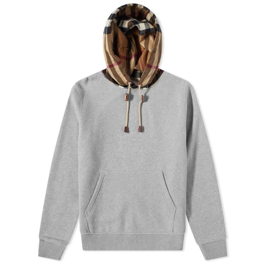 Burberry Samuel Check Hood Hoody - Pale Grey Melange