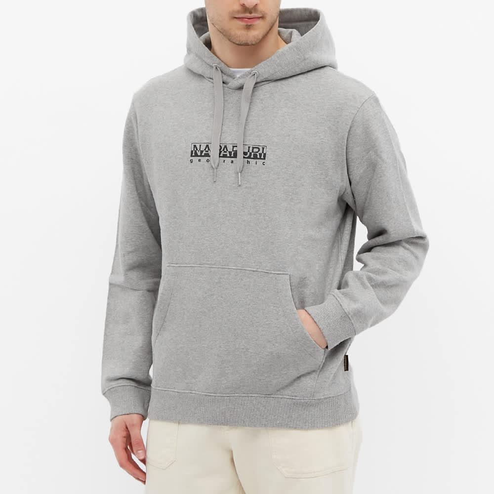 Napapijri Box Logo Popover Hoody - Grey Melange