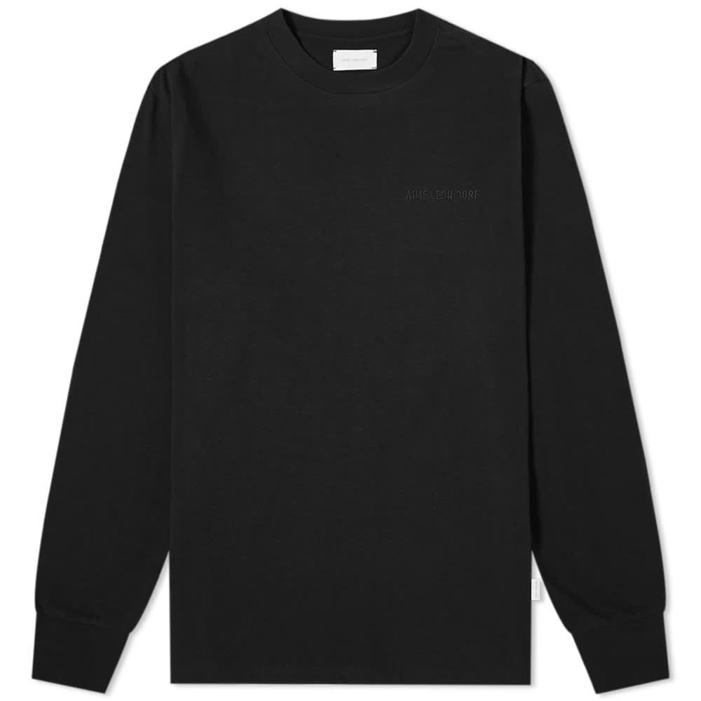 Aimé Leon Dore Long Sleeve Tonal Logo Tee - Jet Black