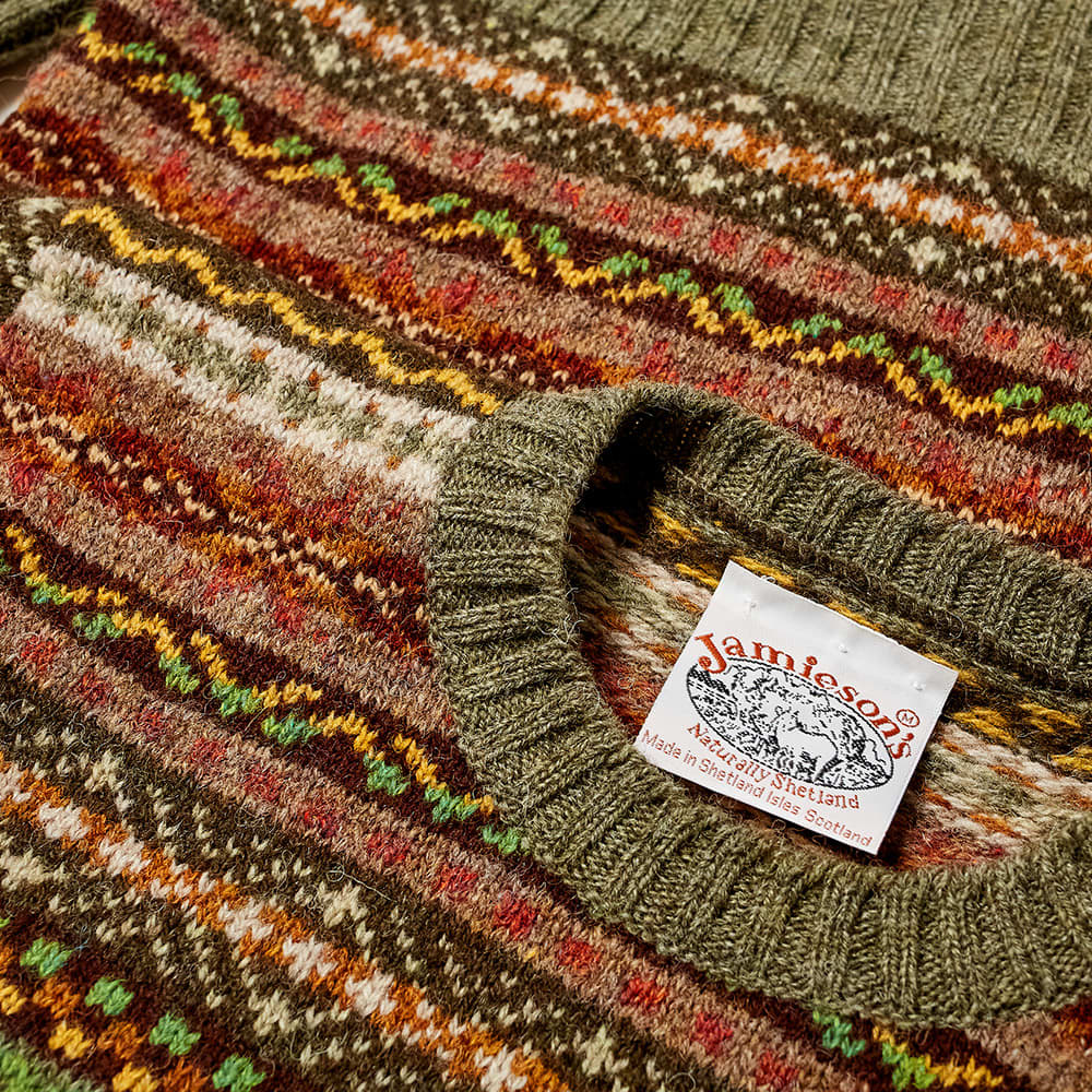 Jamieson's of Shetland Fair Isle Crew - Artichoke