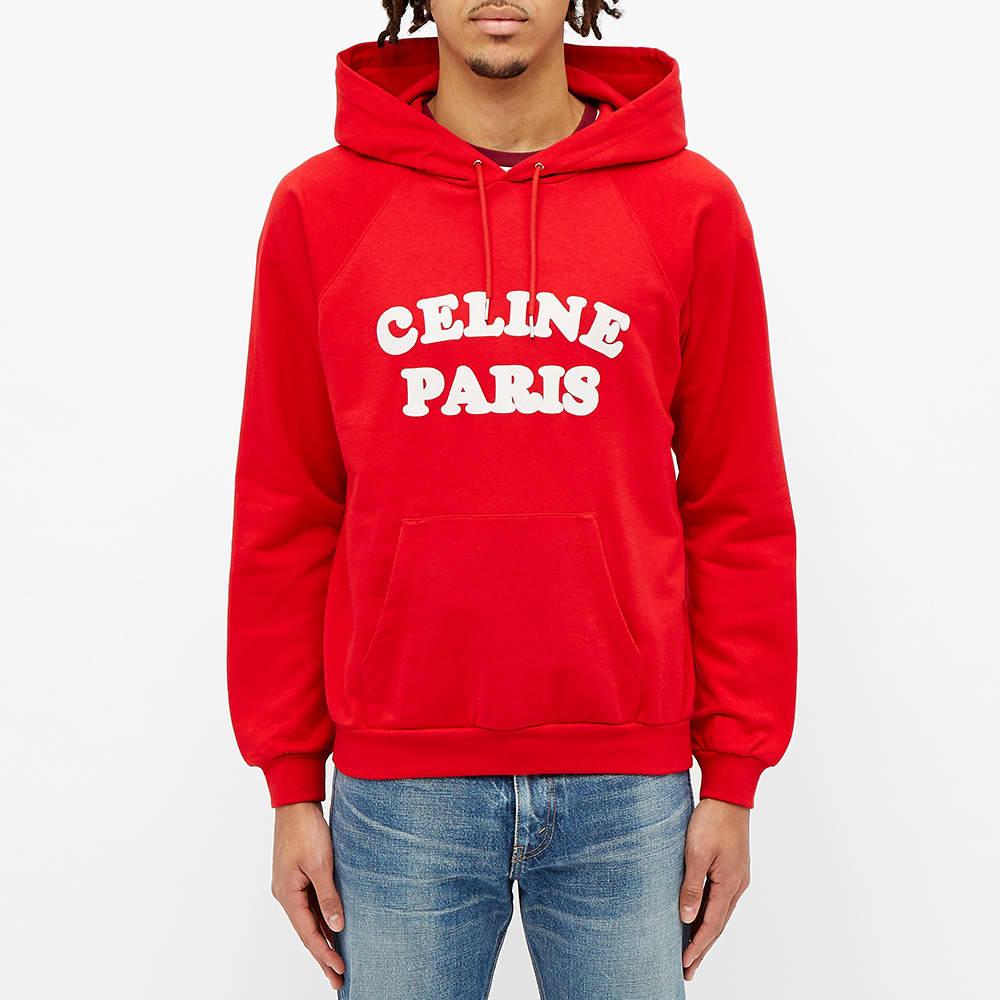 Celine Paris Bubble Logo Hoody - Red & White
