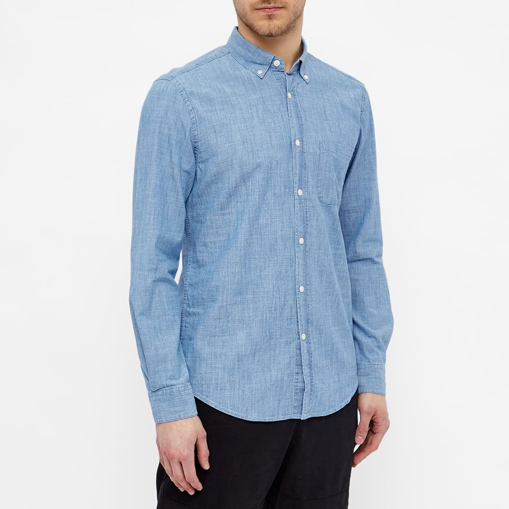 Portuguese Flannel Button Down Chambray Shirt - Blue