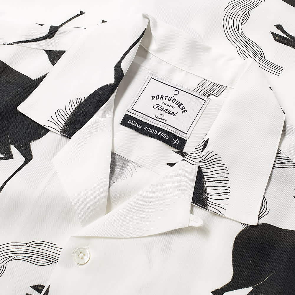 Portuguese Flannel Horse Vacation Shirt - White & Black