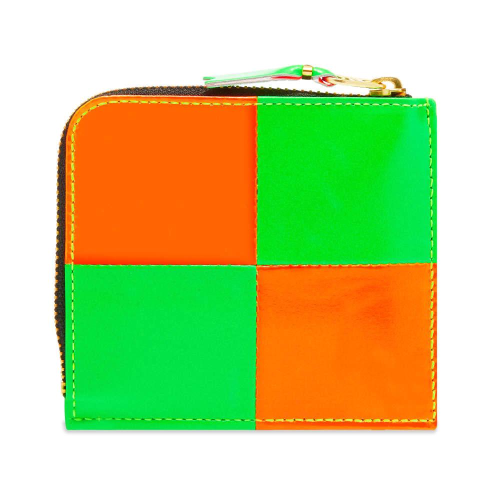 Comme des Garcons Sa3100Fs Fluo Squares Zip Wallet - Orange & Green