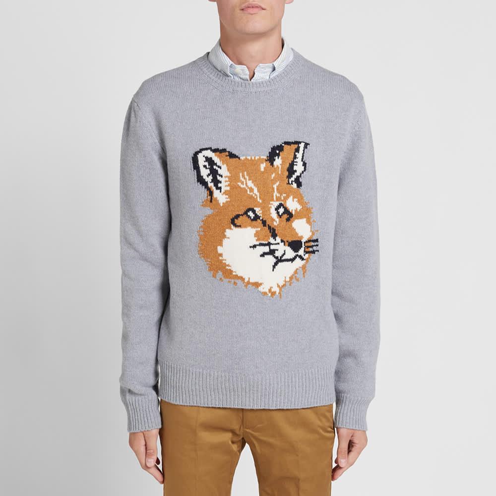 Maison Kitsuné Fox Head Crew Knit - Grey