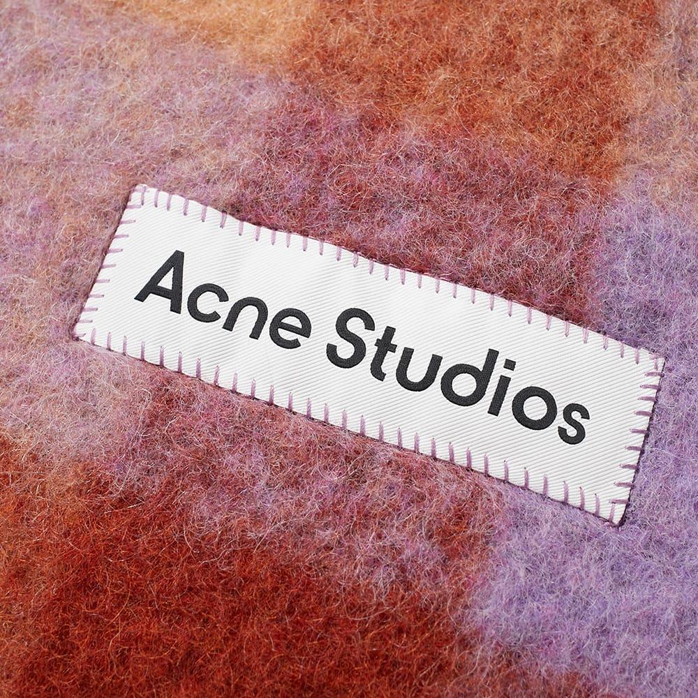 Acne Studios Vally Check Scarf - Brown, Lilac & Navy