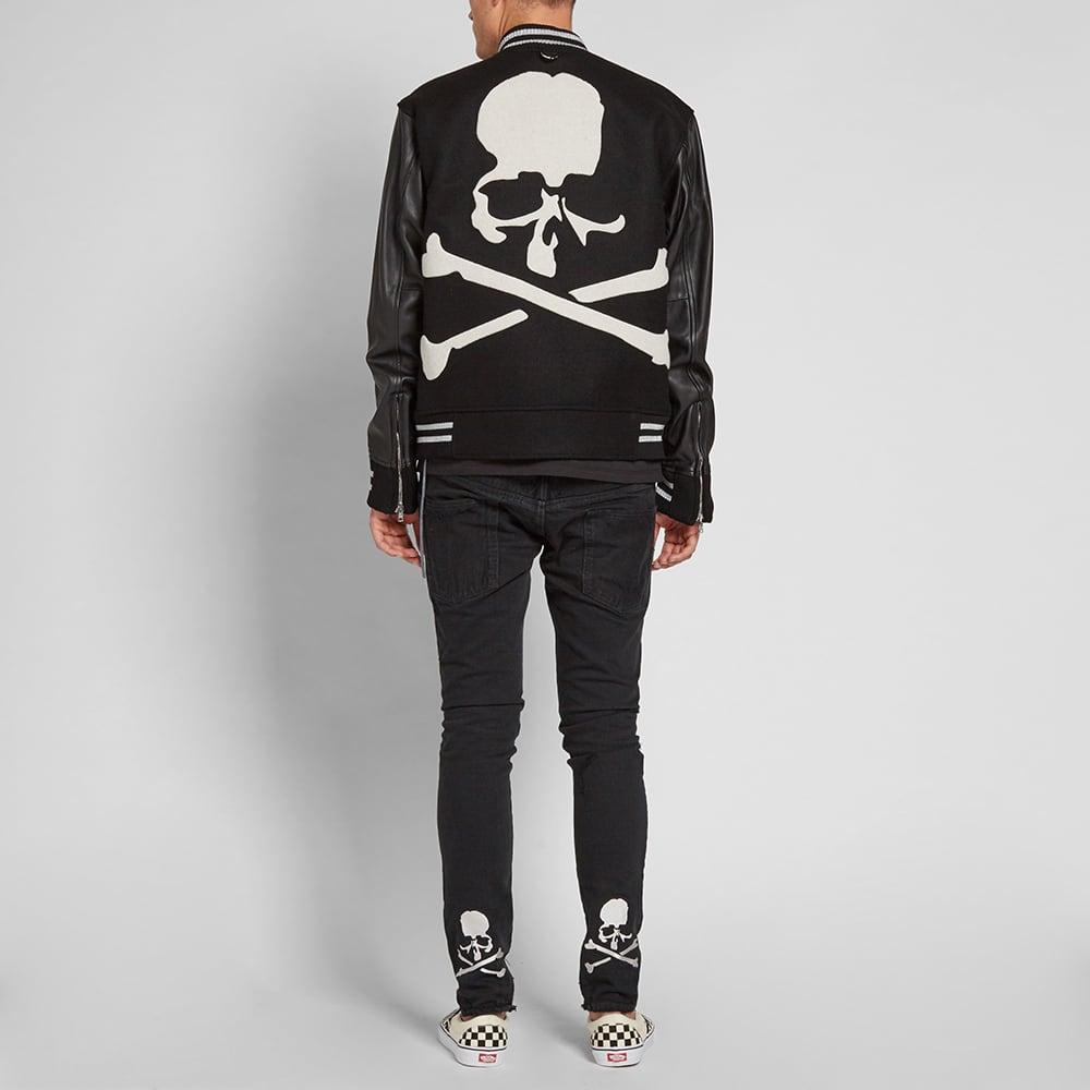 MASTERMIND WORLD Leather Cashmere Varsity Jacket - Black