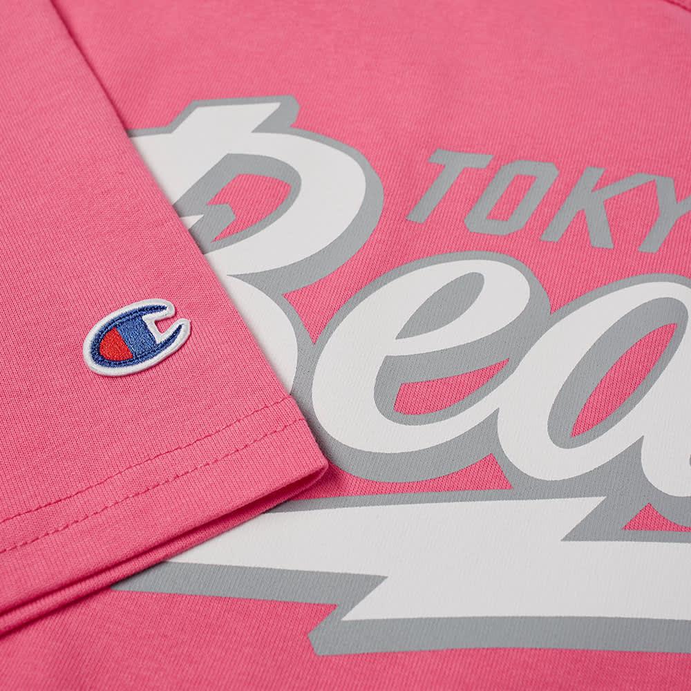 Champion x Beams TB Logo Crew Tee - Pink