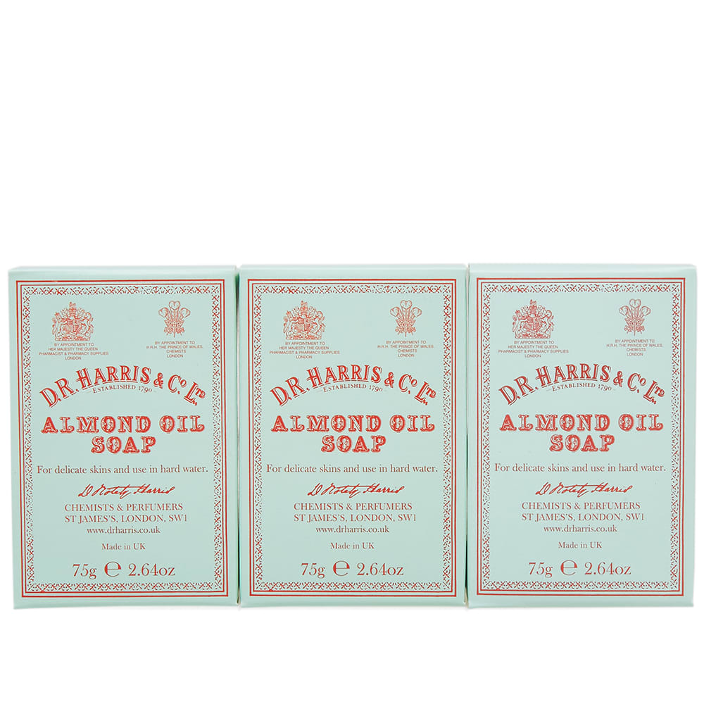 D.R. Harris & Co. Almond Oil Hand Soap - Box of Three - 3 x 75g