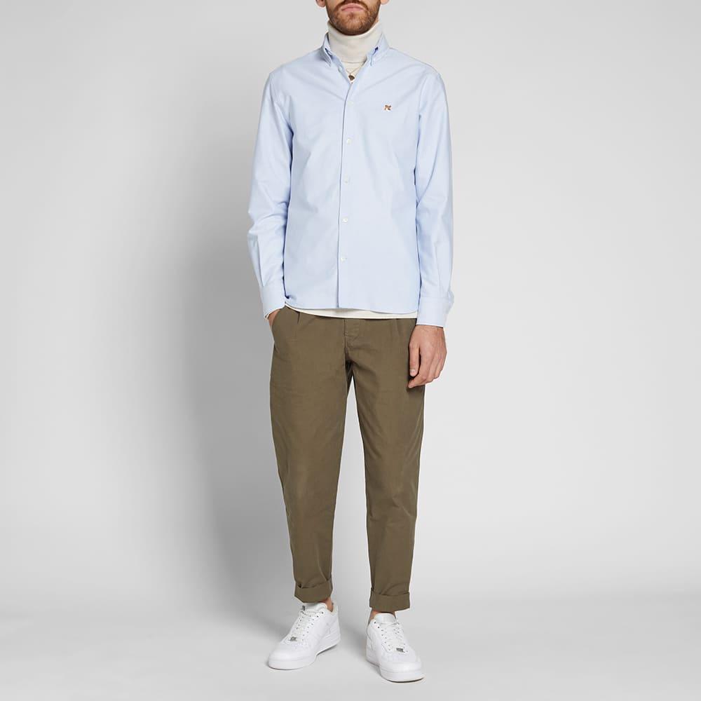 Maison Kitsuné Fox Head Patch Button Down Oxford Shirt - Light Blue