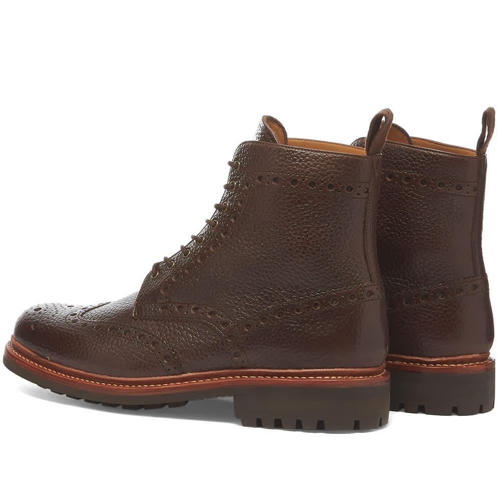 Grenson Fred Brogue Boot - Dark Brown Natural Grain