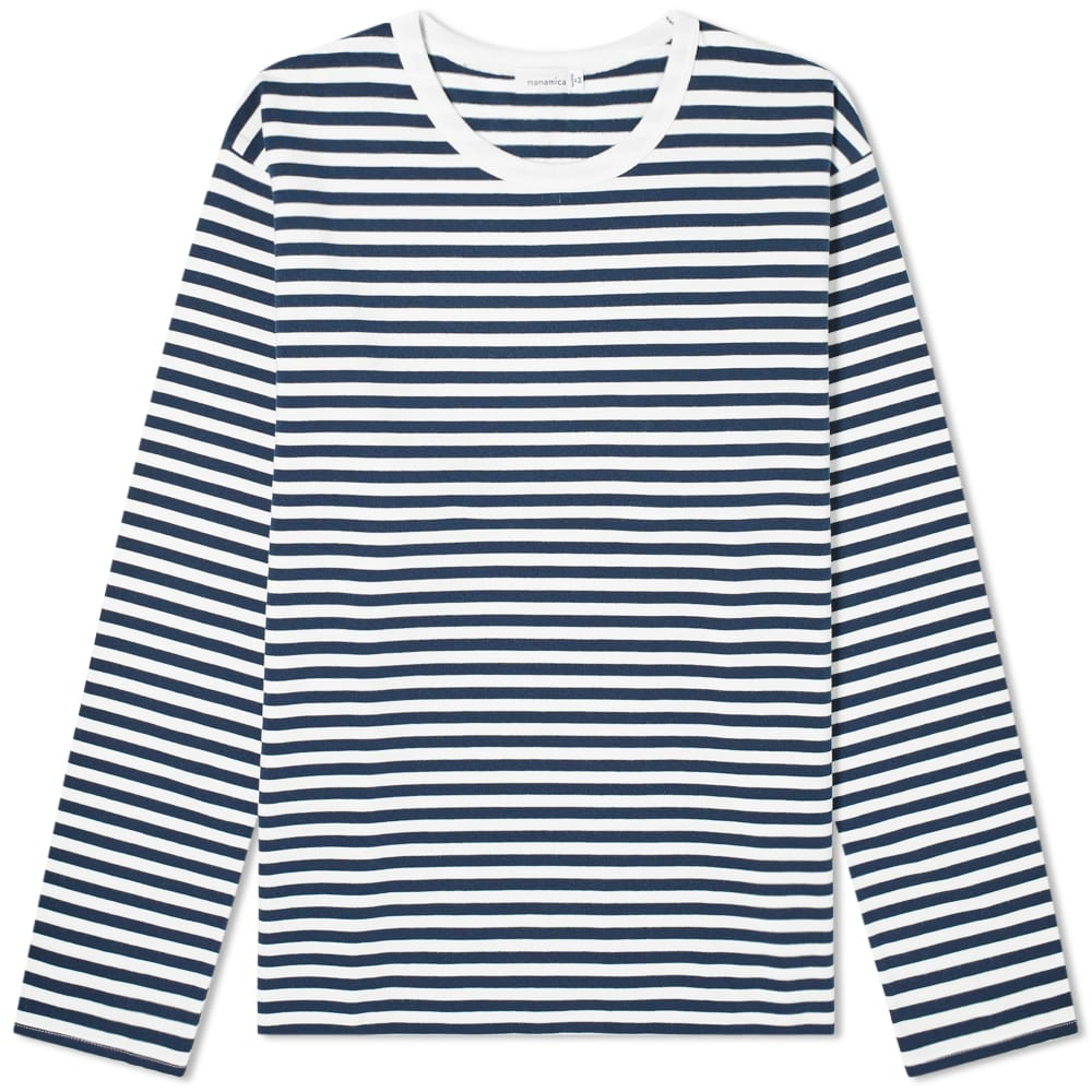Nanamica Long Sleeve CoolMax St. Jersey Tee - Navy & White