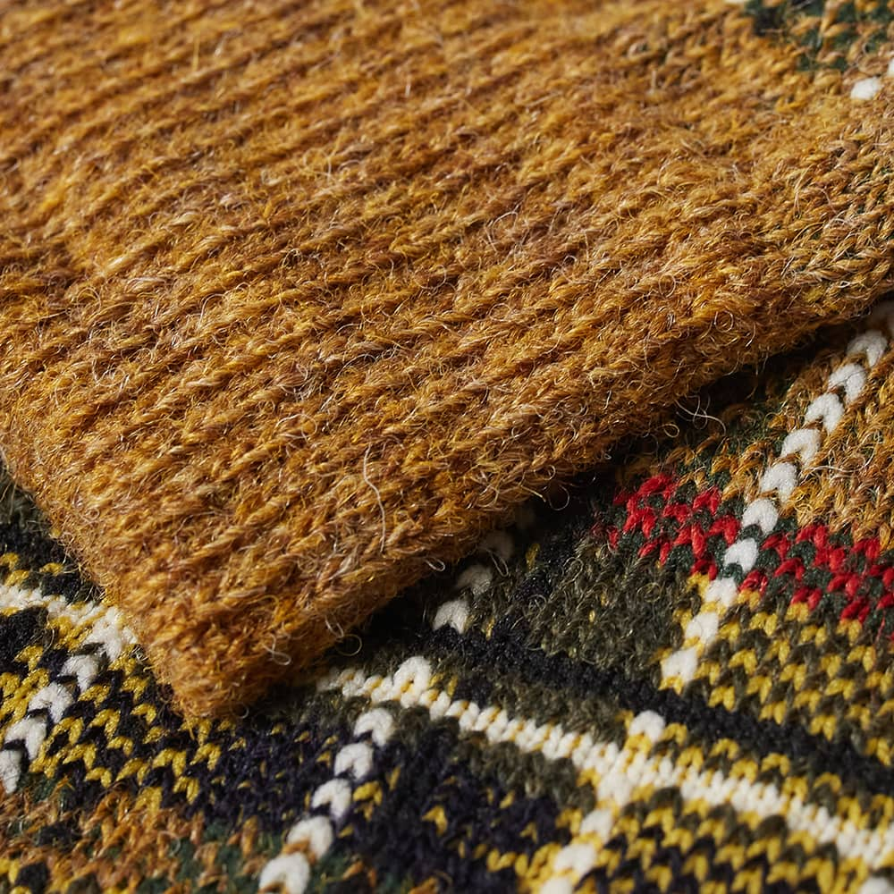 Anonymous Ism Wool Check Crew Sock - Mustard