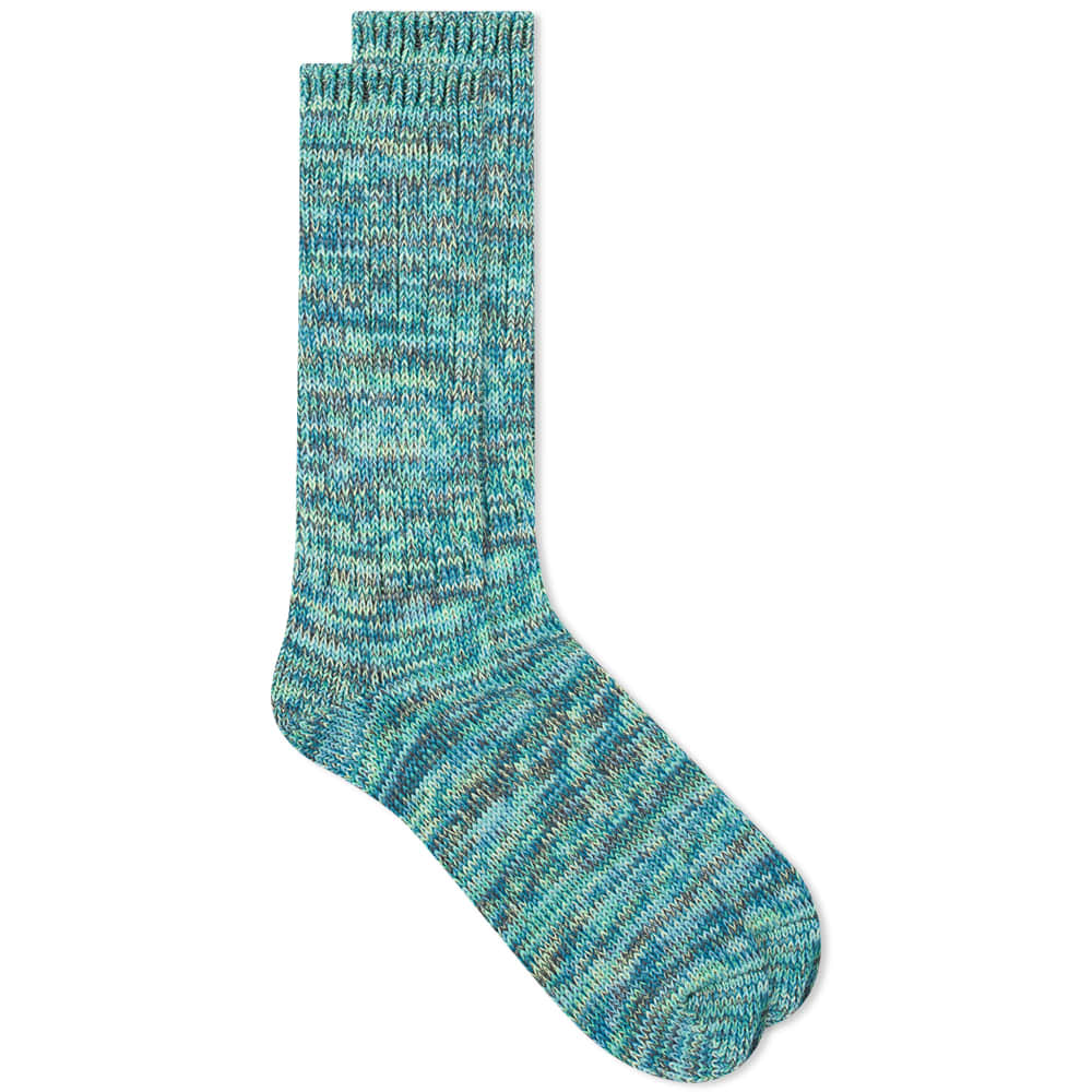 Anonymous Ism 5 Colour Mix Crew Sock - Green