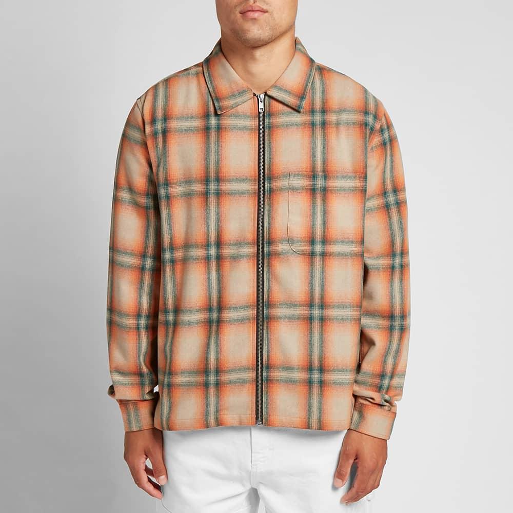 Stussy Gunn Plaid Zip Up Shirt - Orange