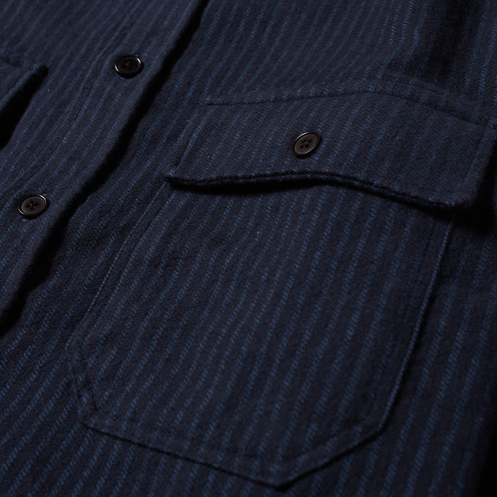 Wood Wood Avenir Striped Flanel Shirt - Navy