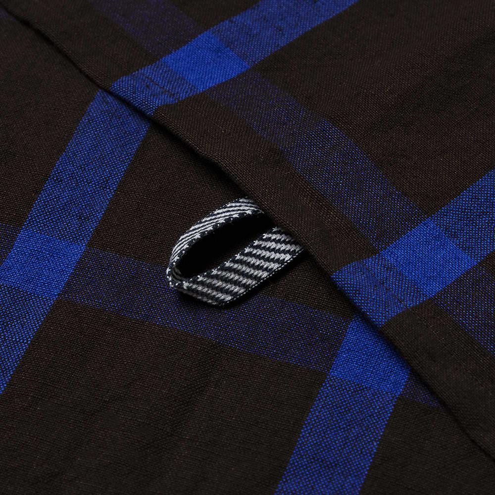 Ferm Living Hale Yarn Dyed Linen Tea Towel - Chocolate & Bright Blue
