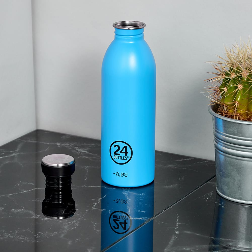24 Bottles Urban Bottle - Lagoon Blue Satin 500ml