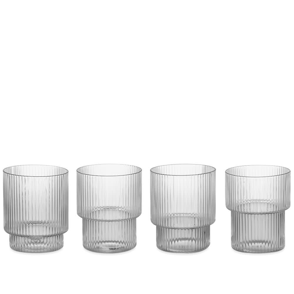 Ferm Living Ripple Glass - Set of 4 - Clear
