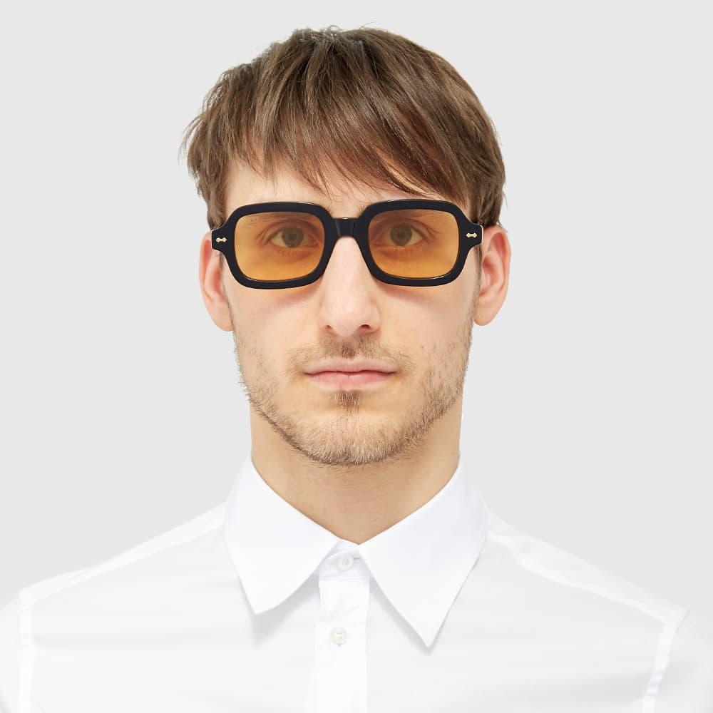 Gucci Vintage Square Frame Sunglasses - Black & Orange