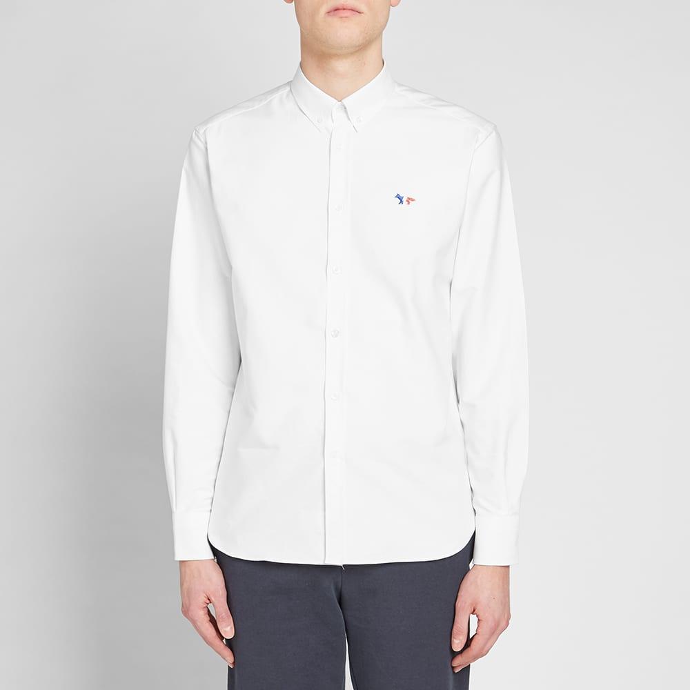 Maison Kitsuné Button Down Classic Tricolour Fox Oxford Shirt - White