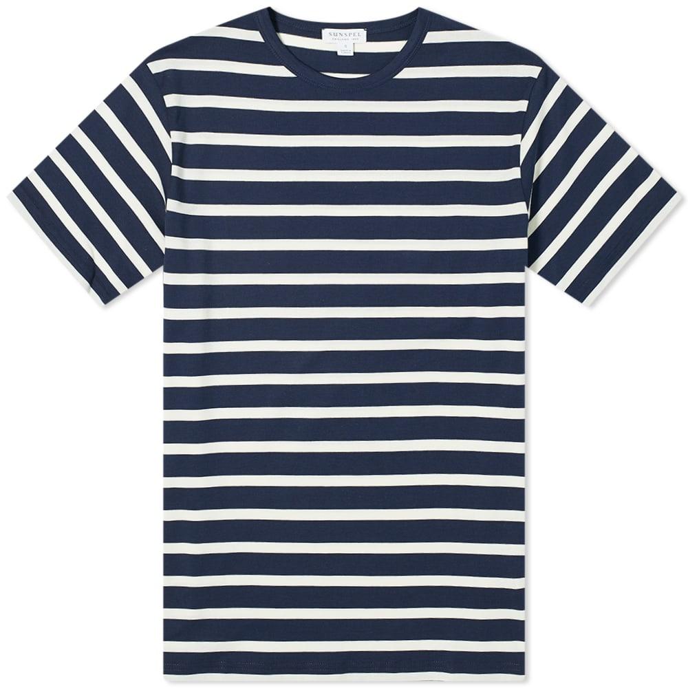 Sunspel Breton Stripe Tee - Navy & Ecru