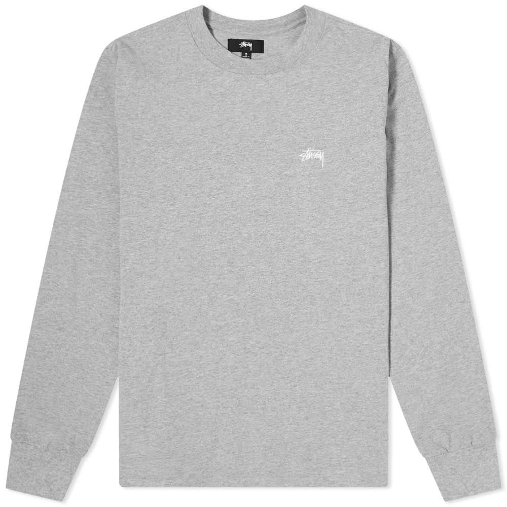 Stussy Long Sleeve Stock Logo Tee - Grey Heather