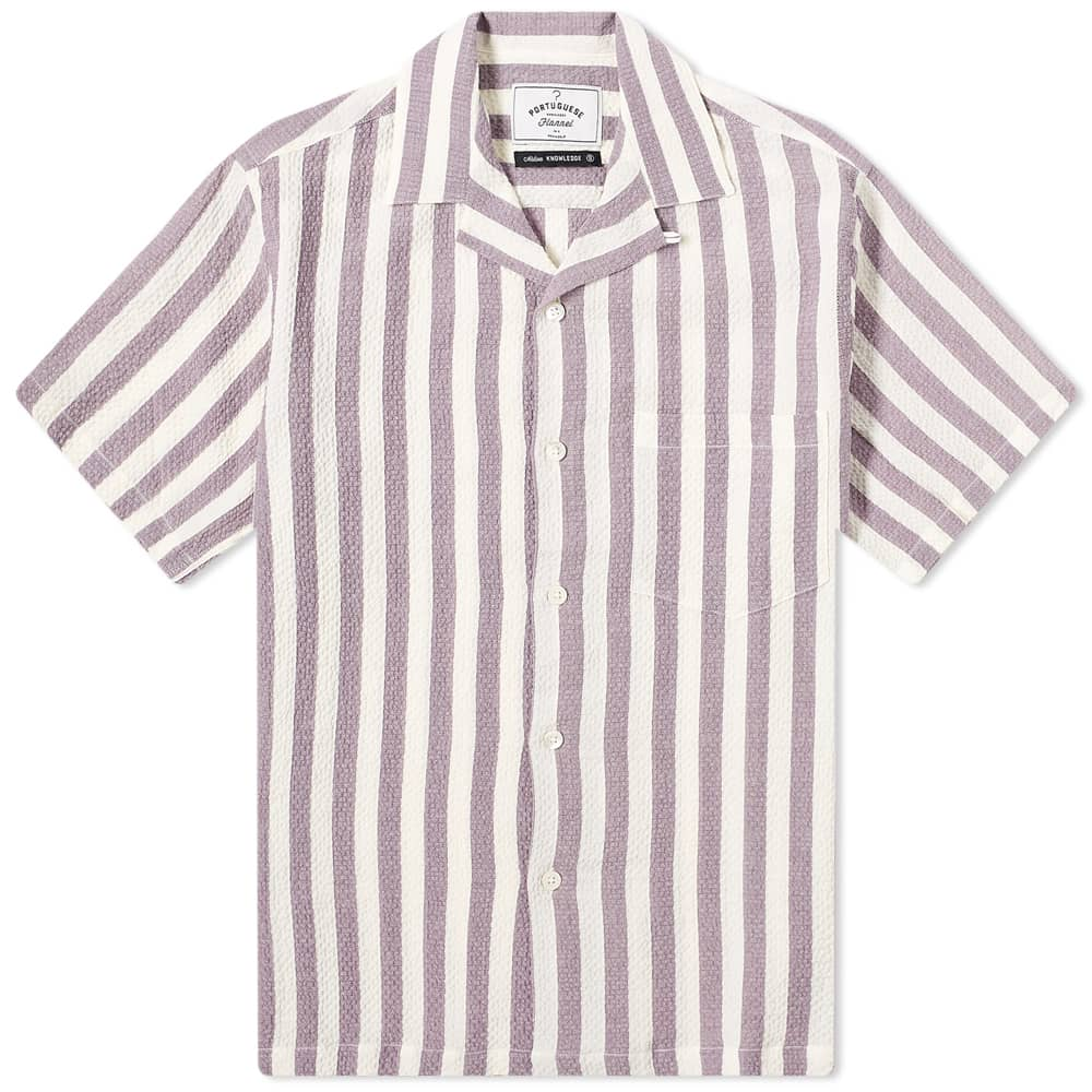 Portuguese Flannel Lavanda Stripe Vacation Shirt - Lavender