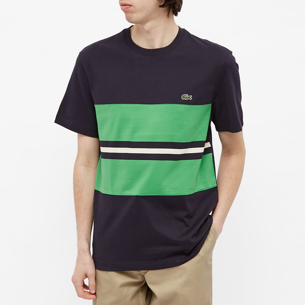 Lacoste Block Stripe Tee - Black, Green & White