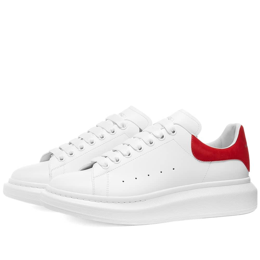 Alexander McQueen Heel Tab Wedge Sole Sneaker - White & Lust Red