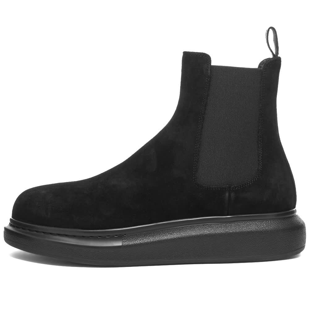 Alexander McQueen Suede Chelsea Wedge Sole Boot - Black