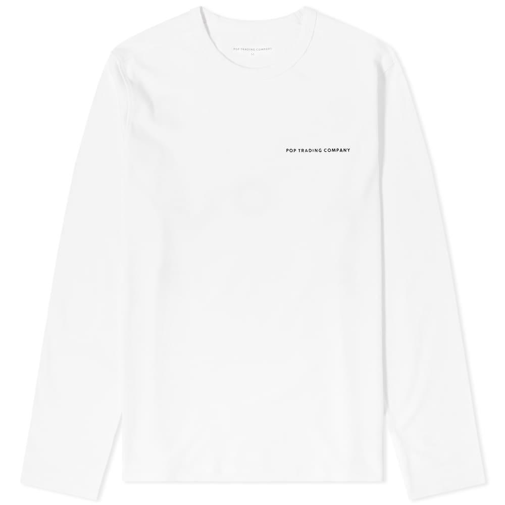 POP Trading Company Long Sleeve Logo Tee - White & Black