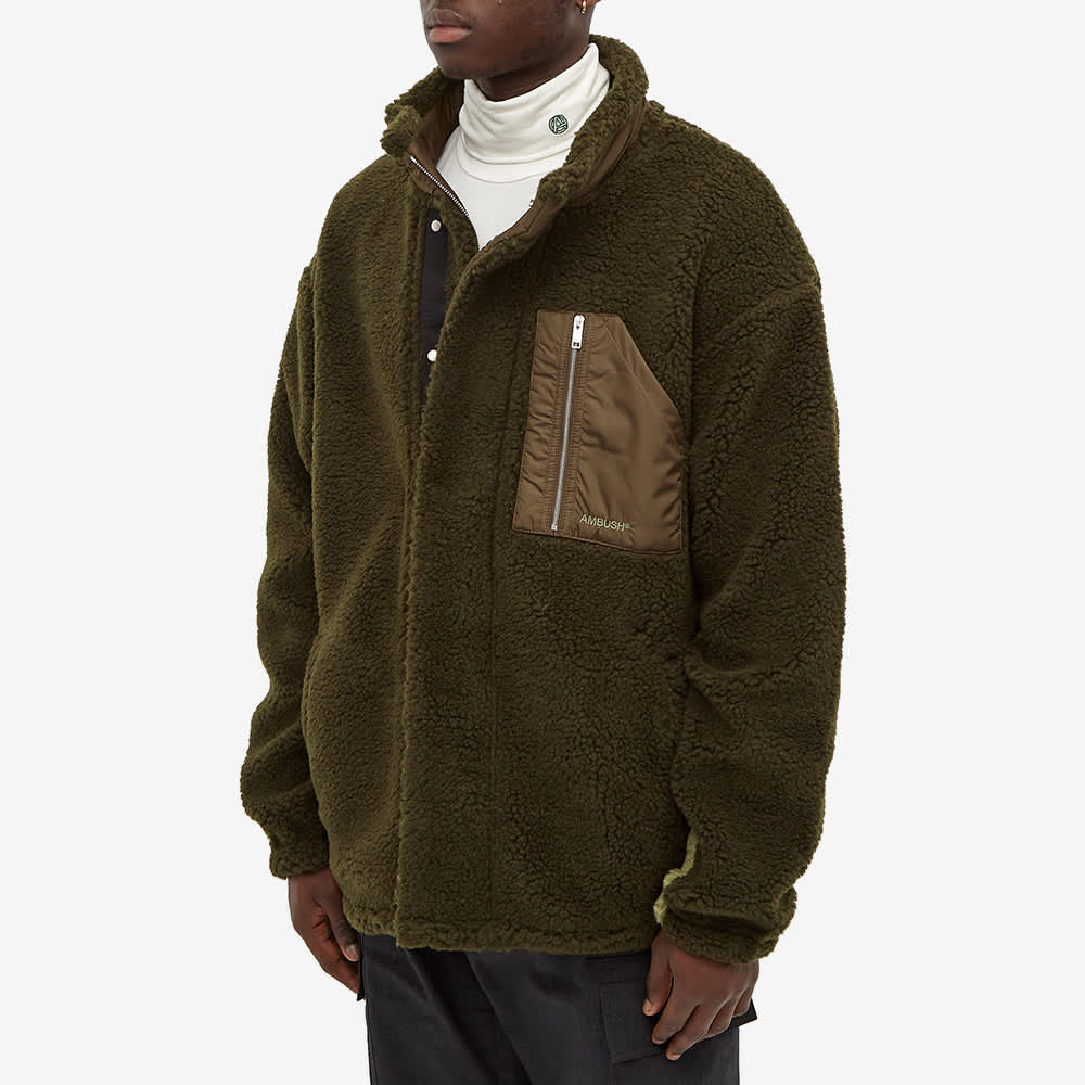 Ambush Zip Through Fleece - Green & Khaki