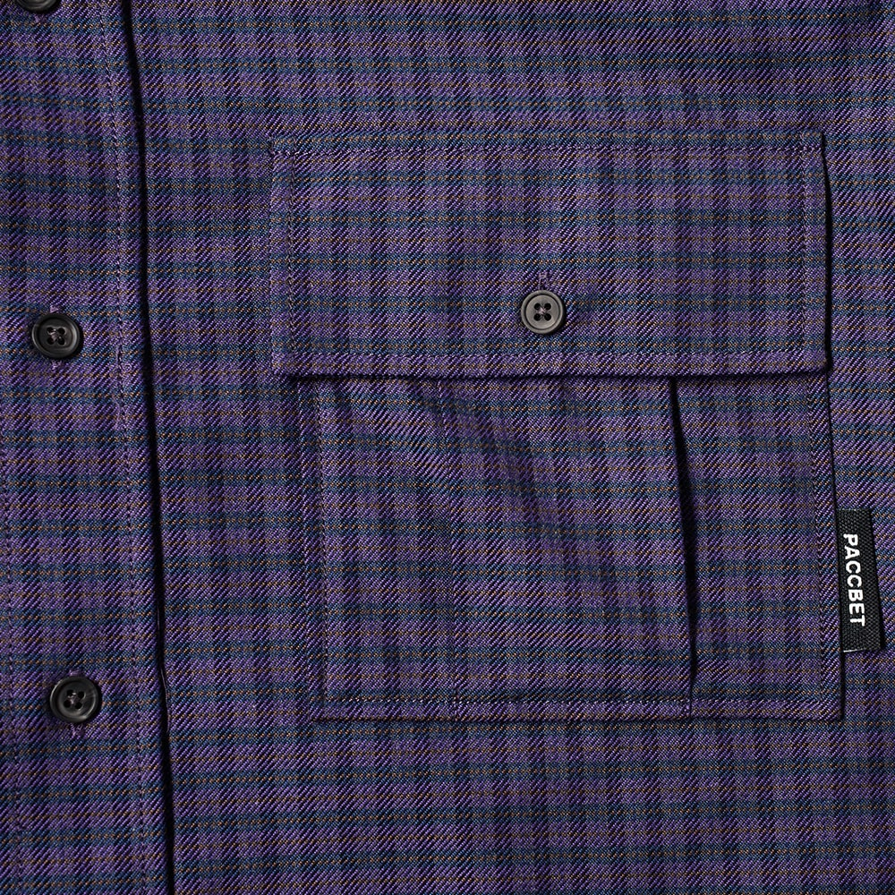 PACCBET Flannel Checked Shirt - Purple Check
