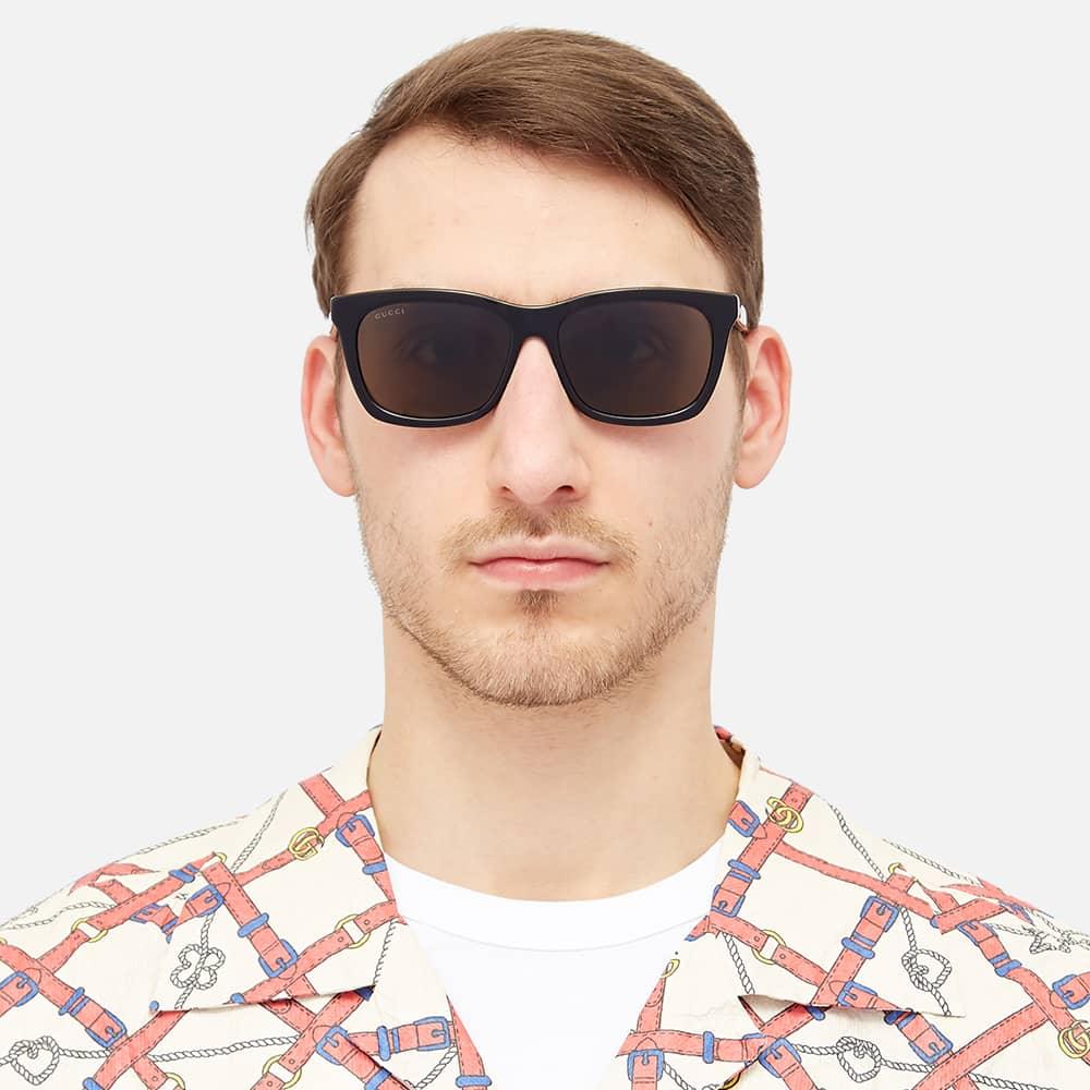 Gucci Web Plaque Square Frame Sunglasses - Black, Gold & Brown