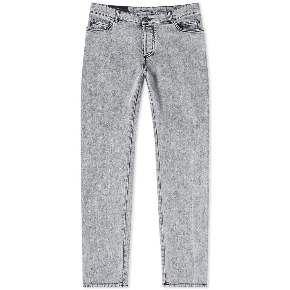 Balmain Embroidered Slim Jeans - Light Grey Washed