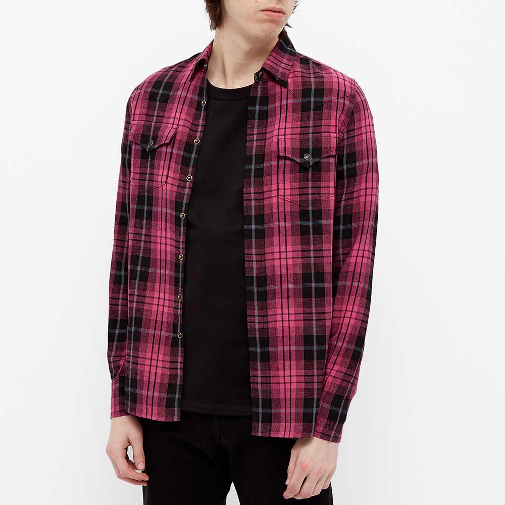 Saint Laurent Western Check Shirt - Black & Pink