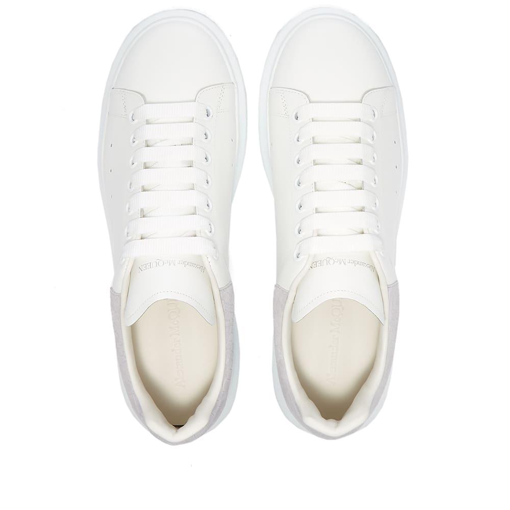 Alexander McQueen Croc Heel Tab Wedge Sole Sneaker - White & Cool Grey