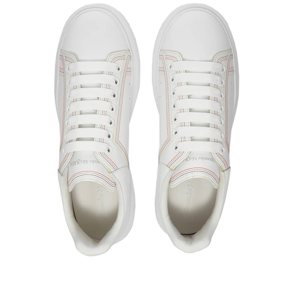 Alexander McQueen Contrast Stitch Wedge Sole Sneaker - White & Multi