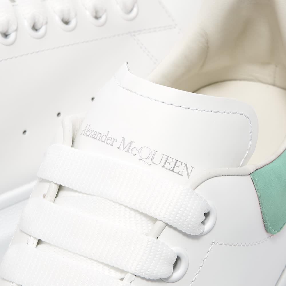 Alexander McQueen Heel Tab Wedge Sole Sneaker - White & Teal