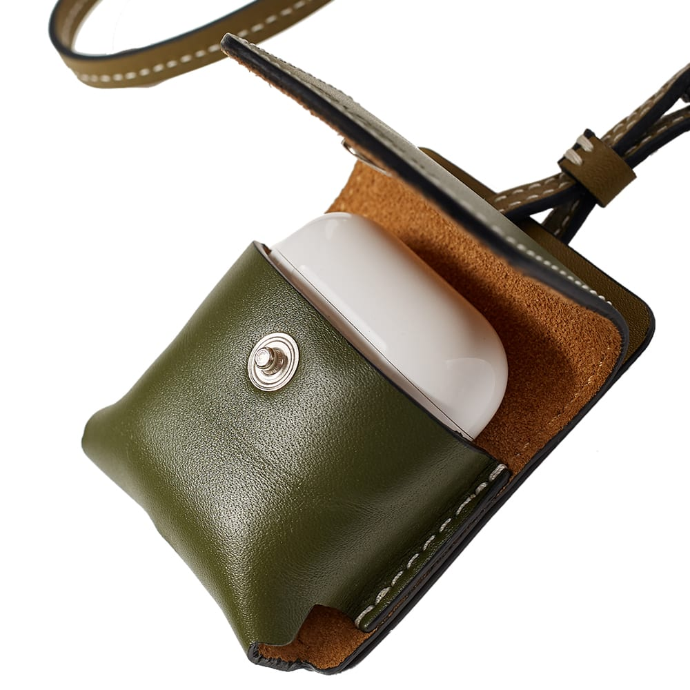 JW Anderson Leather Airpods Case With Strap - Army