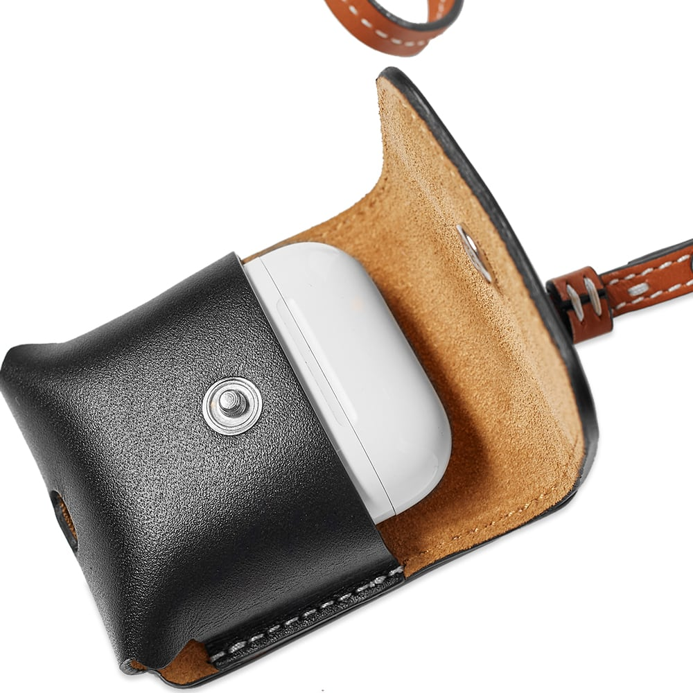 JW Anderson Leather Airpods Case With Strap - Pecan & Black