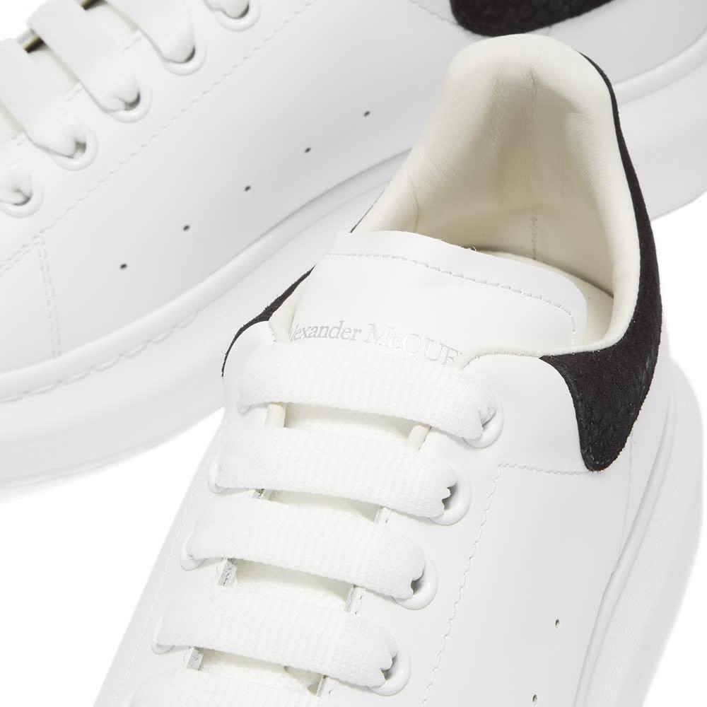 Alexander McQueen Snakeskin Embossed Suede Heel Tab Sneaker - White & Black