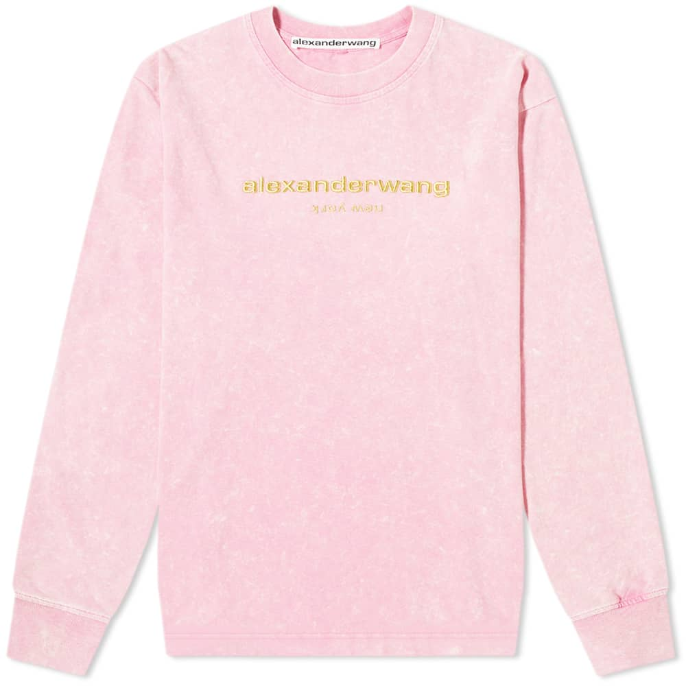 alexander wang long sleeve acid washed logo tee acid pink end end