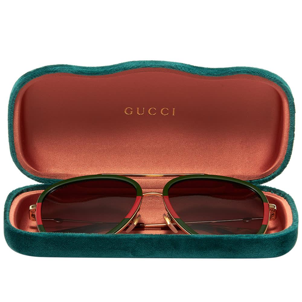 Gucci Sylvie Web Block Aviator Sunglasses - Red, Green & Gold