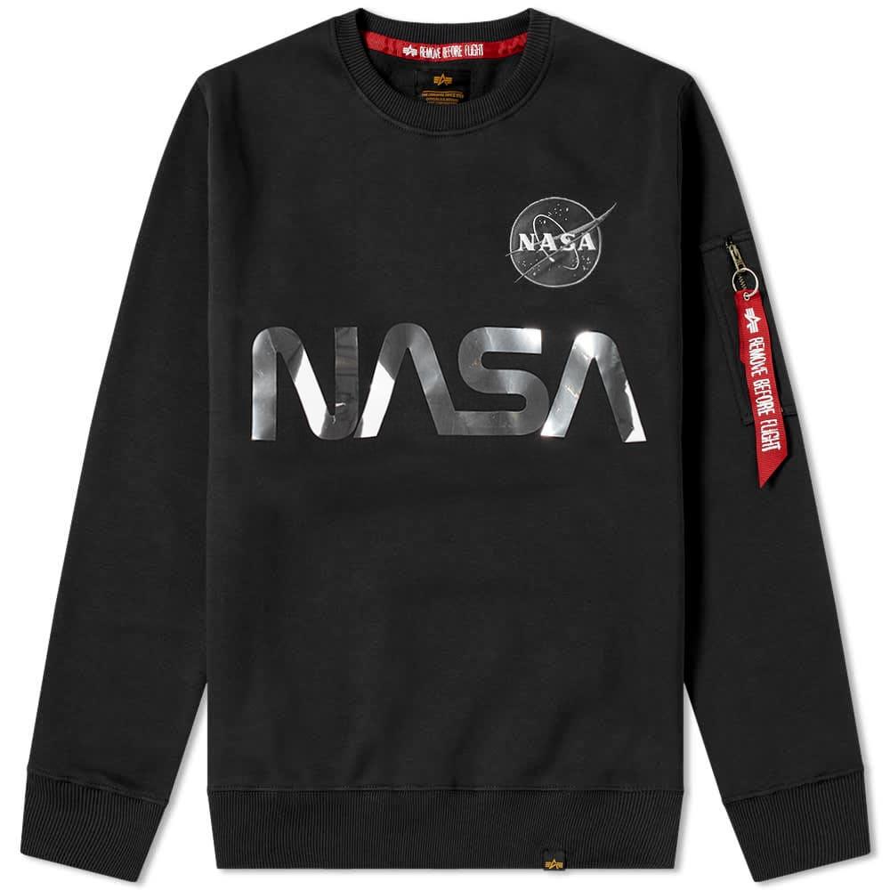 Alpha Industries NASA Reflective Crew Sweat - Black & Silver